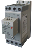 3-fase mykstarter for kompressordrifter. Innebygget bypassrele. 230V. Nominell strøm 25A. 110-400V styresignal. Carlo Gavazzi