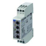 Nettovervåkingsrele 3-fase AC. Nettspenning 208-480VAC. Over-/underspenning + fasebrudd/faserekkefølge. Modulærutførelse med byggebredde 1-modul.
