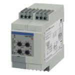 Nettovervåkingsrele 3-fase AC og 3-fase+N-leder. Nettspenning 208-690VAC.  Asymmetri + Over-/underspenning + fasebrudd/faserekkefølge. Justerbare tidsforsinkelser 0