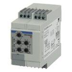 Nettovervåkingsrele 3-fase AC og 3-fase+N-leder. Nettspenning 208-690VAC. Over-/underfrekvens+ over/underspenning + fasebrudd/faserekkefølge. Justerbare tidsforsinkelser 0