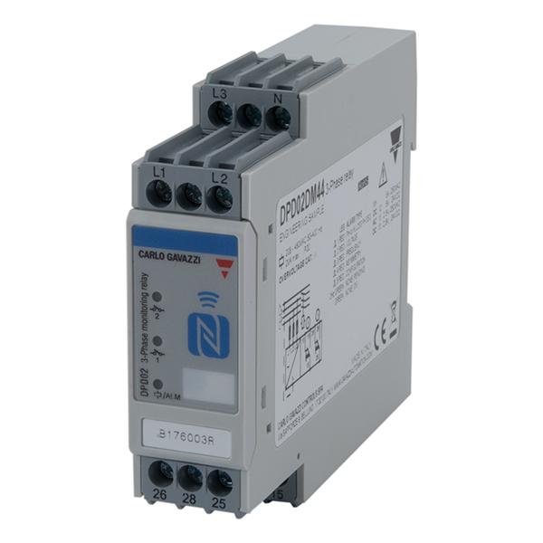 Nettovervåkingsrele 3-fase AC  med eller uten N-leder. Multifunksjon med NFC programmering: Fasefølge/-brudd