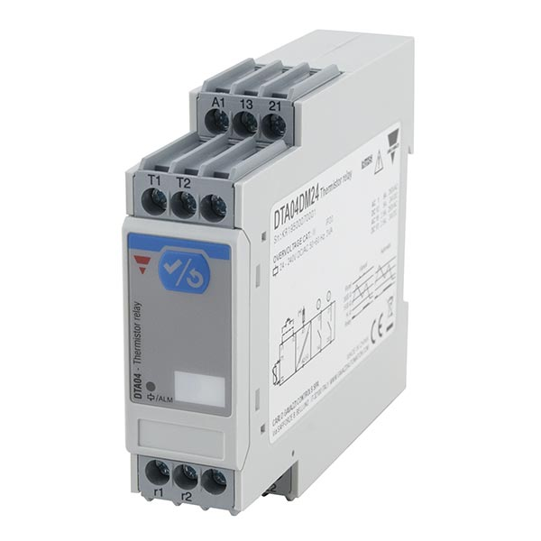 Termistorrele med 2 releutganger. For overvåking av temperatur i motorer. Knapp i front for test- og resetfunksjon. Forsyningsspenning 18-265 VAC/VDC.