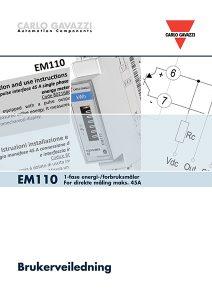 Brukerveiledning EM110 energimåler / forbruksmåler for direkte måling fra Carlo Gavazzi