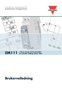 Brukerveiledning EM111 energimåler / forbruksmåler for direkte måling fra Carlo Gavazzi