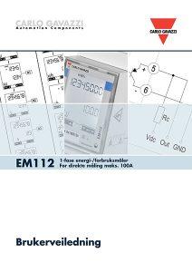 Brukerveiledning EM112 energimåler / forbruksmåler for direkte måling fra Carlo Gavazzi