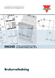 Brukerveiledning EM340 energimåler / forbruksmåler for direkte måling fra Carlo Gavazzi