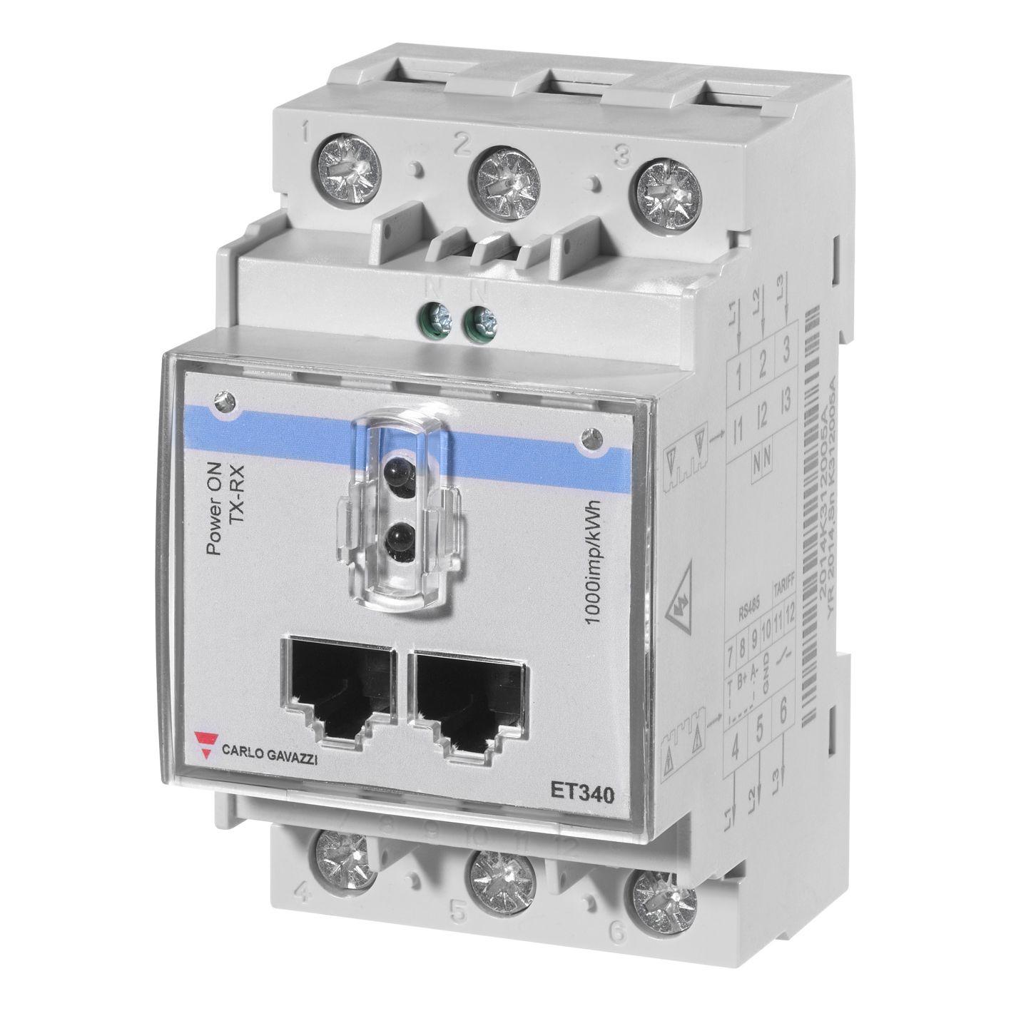 3-fase energi-/forbruksmåler for direkte måling. Uten display. RS485 Modbus grensesnitt og optisk port. Tilgang til alle relevante måleverdier. Modulærutførelse med byggebredde 3-moduler.