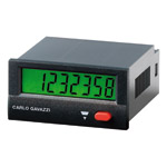 Elektronisk pulsteller 24x48mm med 8 siffer. Panelmontasje. Driftspenning batteri. Med reset.