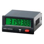 Elektronisk timeteller 24x48mm med 8 siffer. Panelmontasje. Driftspenning batteri. Med reset.
