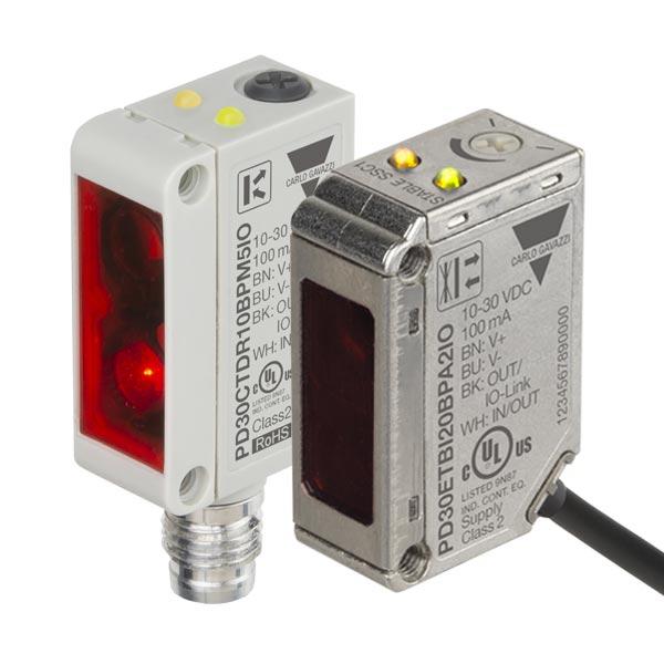 PD30 serie IO-link miniatyr fotoceller i plasthus med plugg og rustfritt stål med kabel