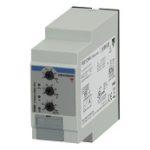 Nettovervåkingsrele 3-fase AC og 3-fase+N-leder. Nettspenning 208-480VAC. Over-/underspenning + fasebrudd/faserekkefølge. Justerbar tidsforsinkelse 0