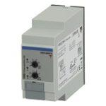 Nettovervåkingsrele 3-fase AC og 3-fase+N-leder. Nettspenning 208-480VAC. Asymmetri + fasebrudd/faserekkefølge. Justerbar tidsforsinkelse 0