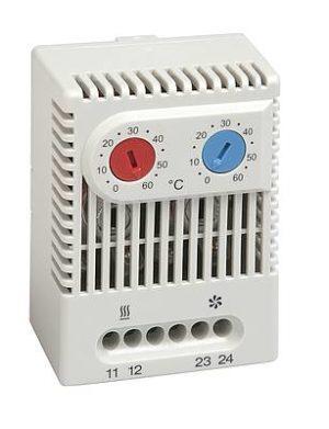 Dobbel termostat med justerbart temperaturområde 0-60 °C for både varme- og kjølefunksjon. IP20. DIN-skinne montering. Stego.