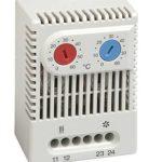 Dobbel termostat med justerbart temperaturområde 20-80 °C for både varme- og kjølefunksjon. IP20. DIN-skinne montering. Stego.