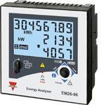 Nettanalysator med 2 releutganger og RS485 Modbus grensesnitt. Bakgrunnsbelyst LCD display. Panelmontert DIN 96X96mm. Hjelpespenning 90-260VAC/DC.