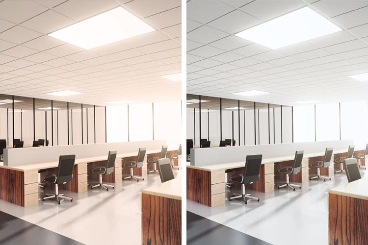 Kontor med styring av lysets fargetemperatur
