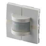 PIR-sensor med detektering 150° . 55x55 mm. Inkl.  hvitt og sort deksel. Veggmontering. For innendørs bruk. Forsyningsspenning: Bussforsynt. Integrert lux-sensor