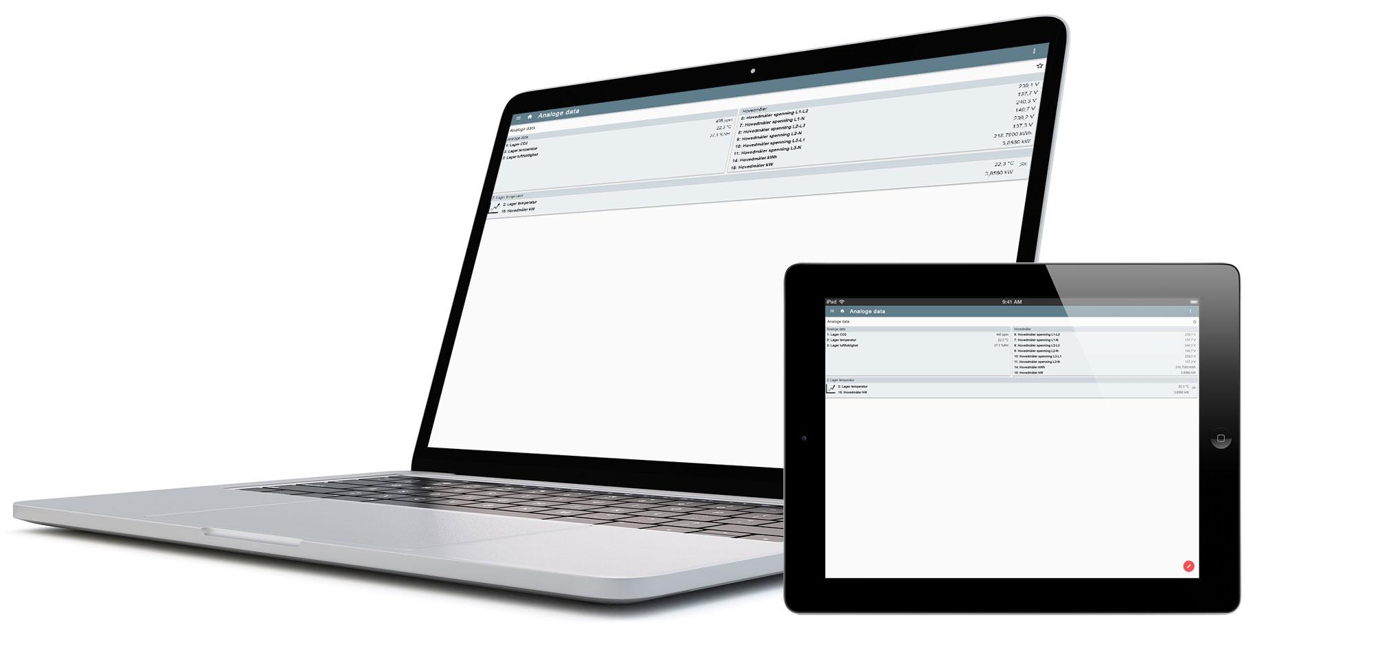 WEBBapp med visning av analoge data