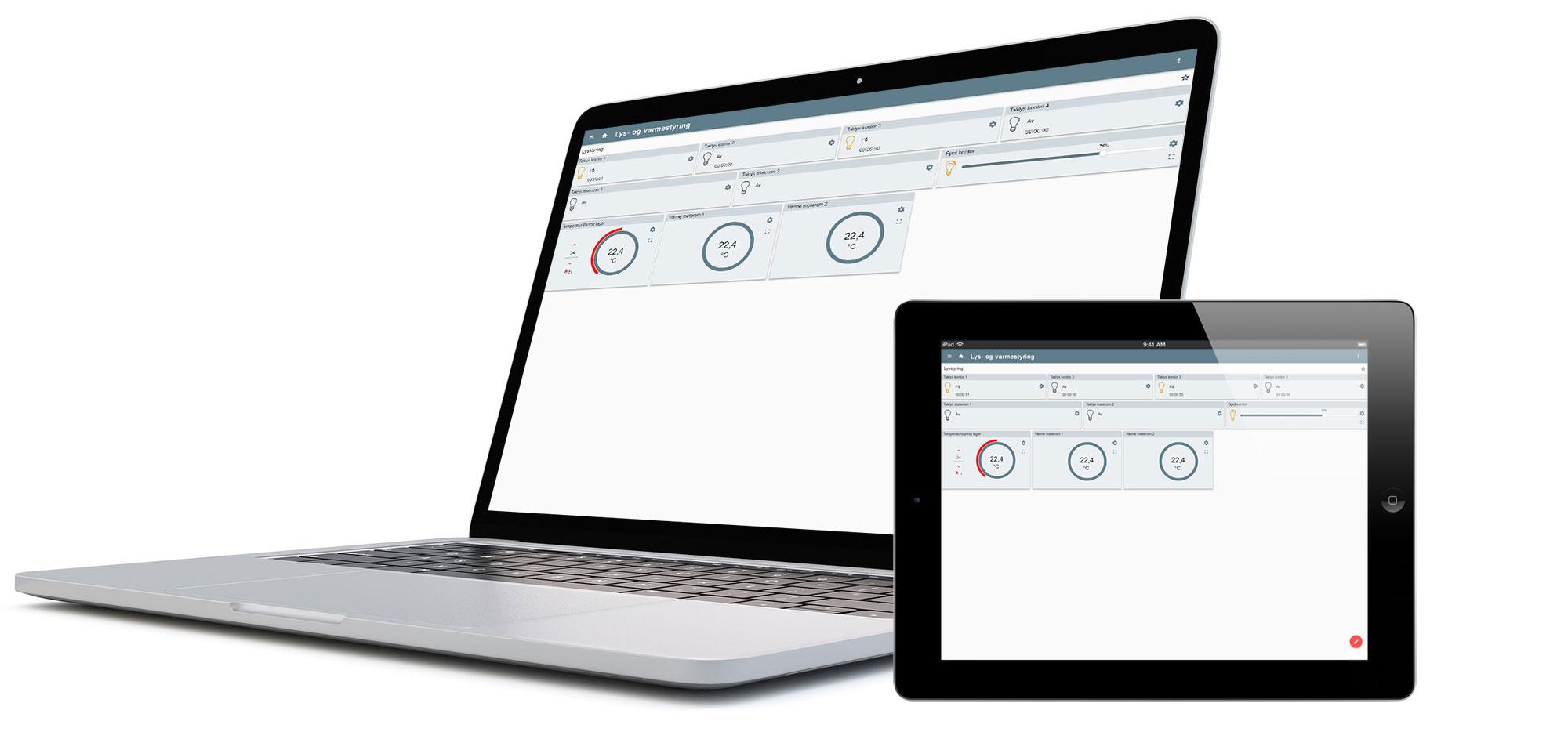 WEBBapp med visning av lys- og varmestyring