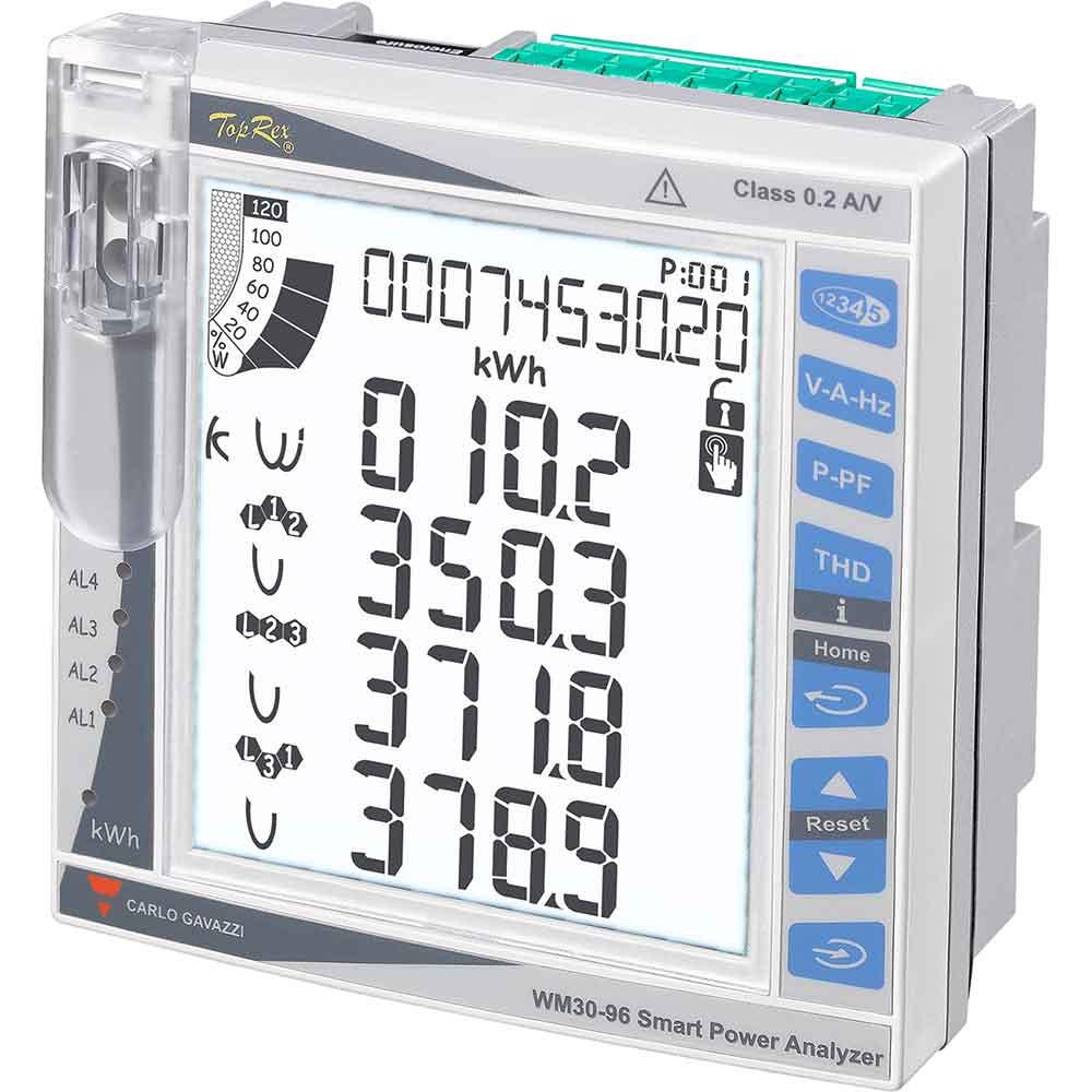 Nettanalysator basert på opsjonsmoduler. Bakgrunnsbelyst LCD display. Panelmontert DIN 96X96mm. Hjelpespenning 20-55VAC/DC.